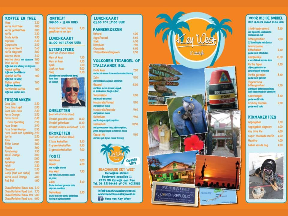 2018 menukaart